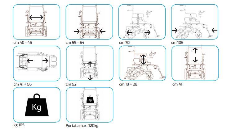 Carrozzina elettrica gr558 nuova blandino for Misure cuscino carrozzina